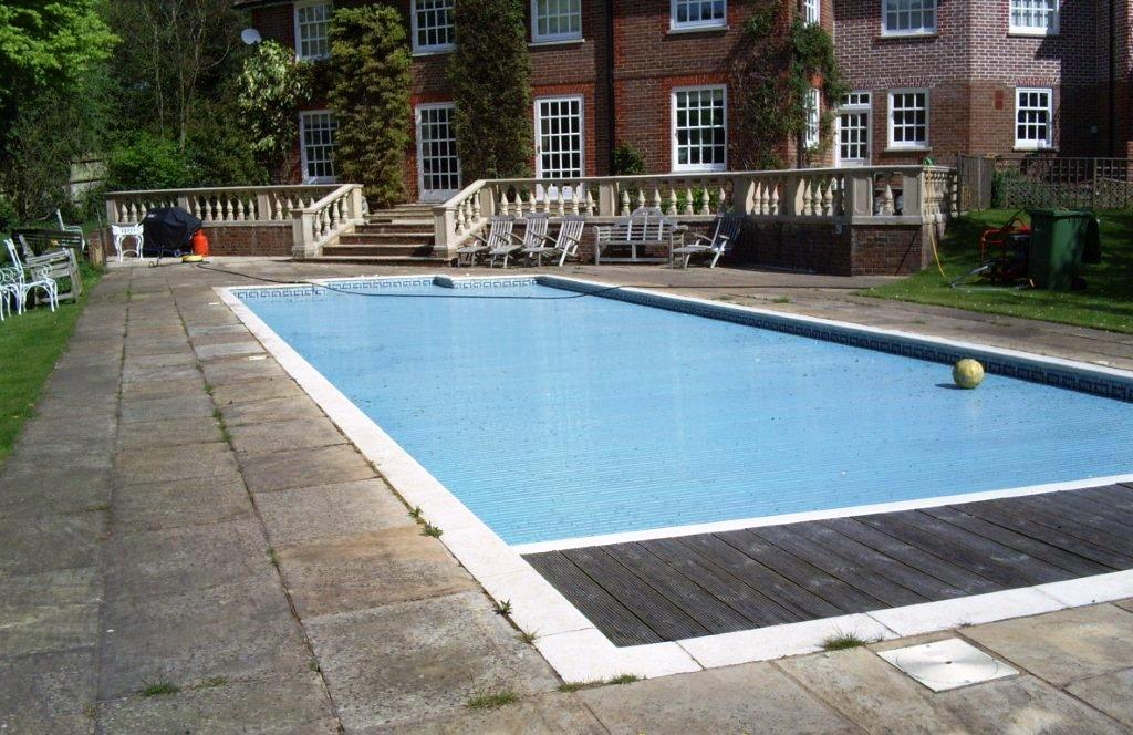 Indian Sandstone Swimming Pool Surround Before Cleaning