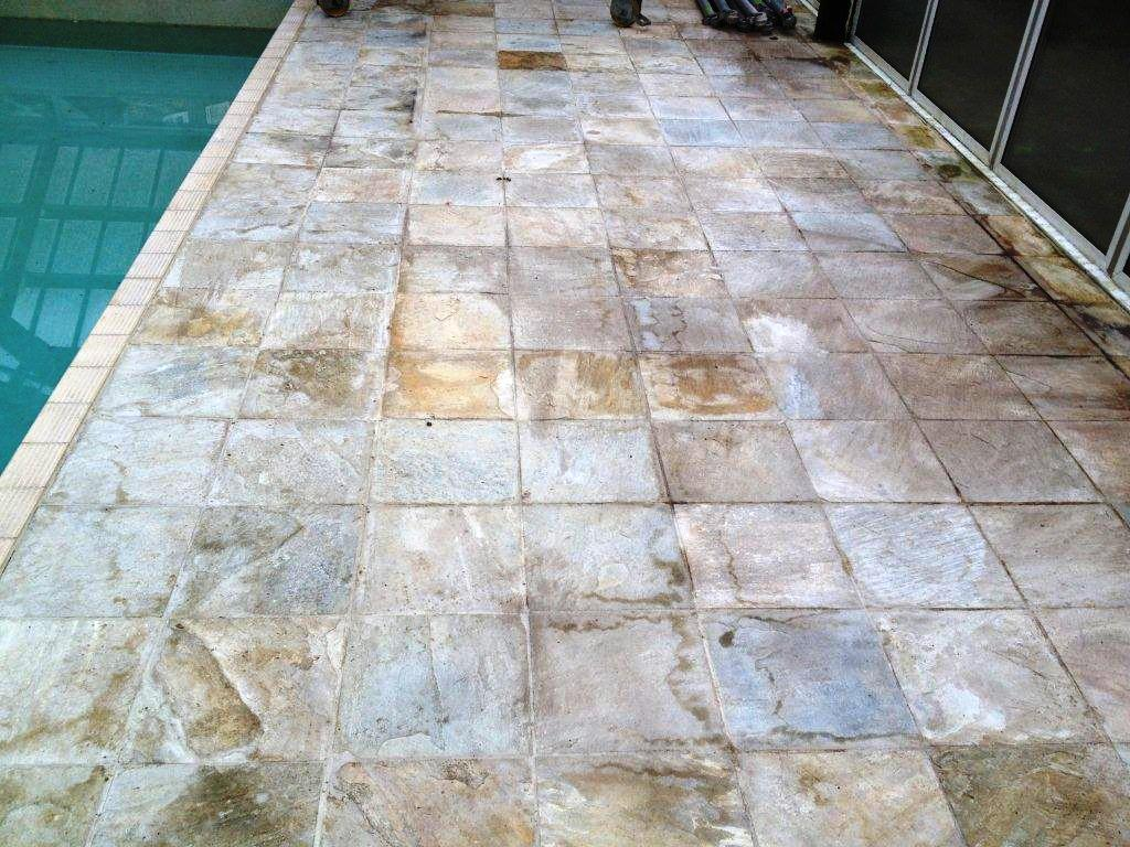 Indian Sandstone Pool Surround Before Cleaning