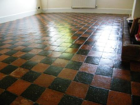 Old farmhouse quarry tiles after