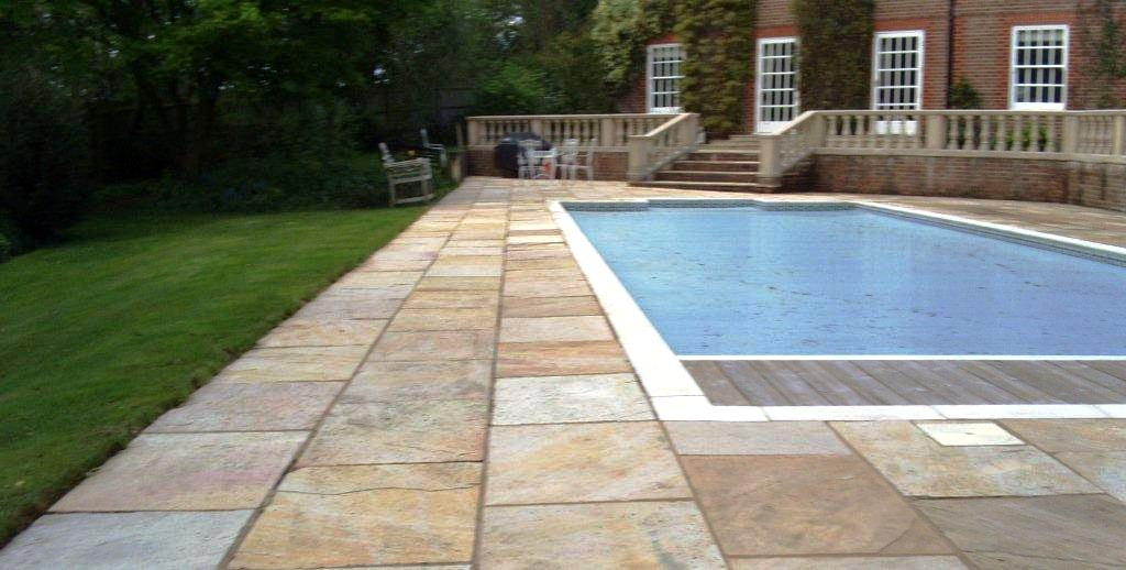 Indian Sandstone Swimming Pool Surround after cleaning