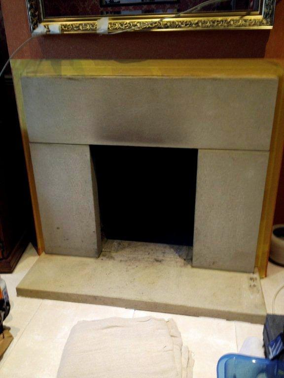 Thame Sandstone Fireplace Before Cleaning