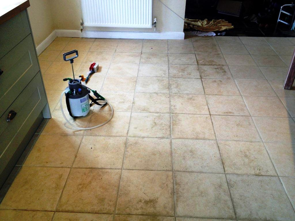 Tarmac Stains on Ceramic Tile in Long Hanborough Before