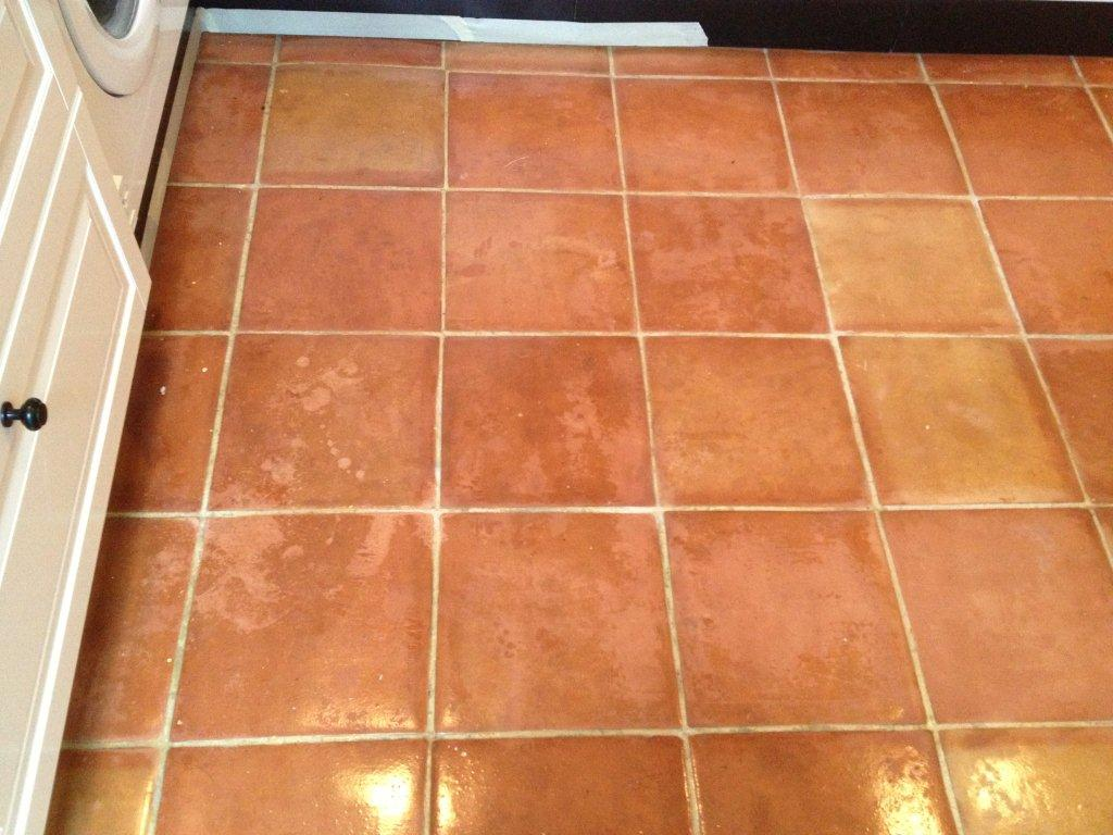 Terracotta Tiled Kitchen Floor Cleaned And Sealed In Kidlington