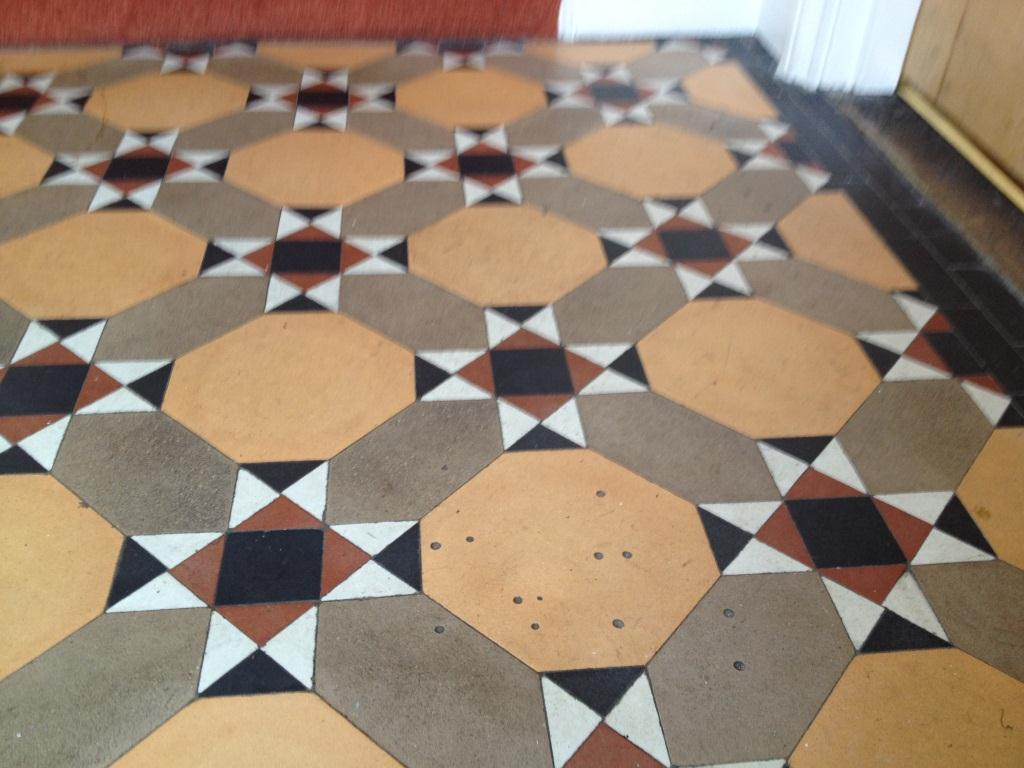 Victorian Tiled Floor Thame Before Cleaning 2