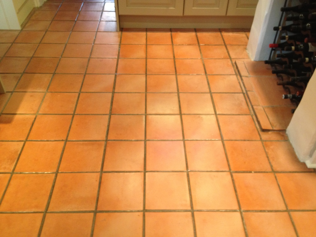 Terracotta Tiled Floor Thame Before Cleaning