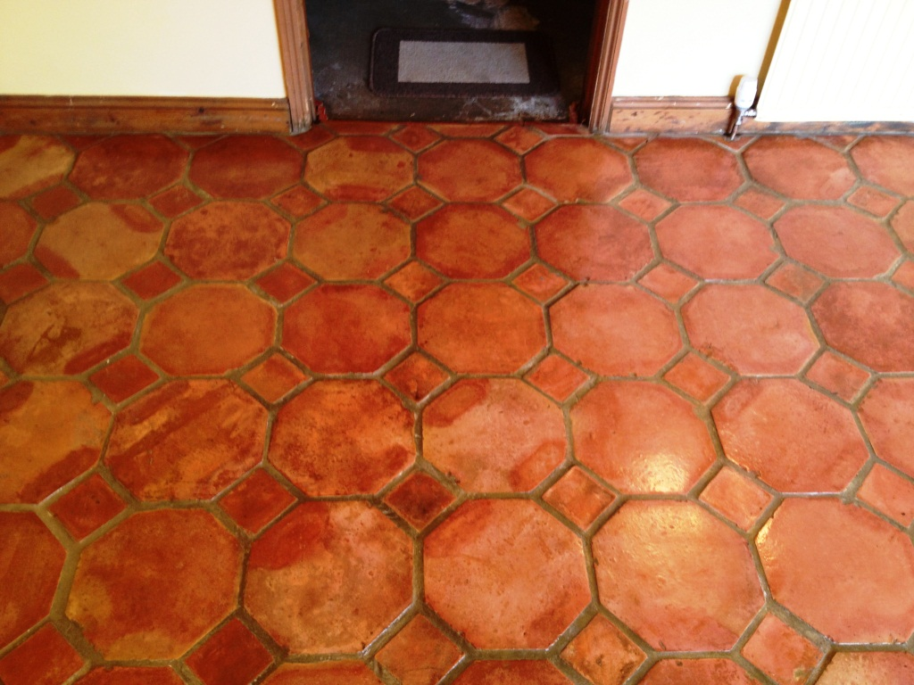 Terracotta Tiled Floor in Great Bourton After Cleaning 2