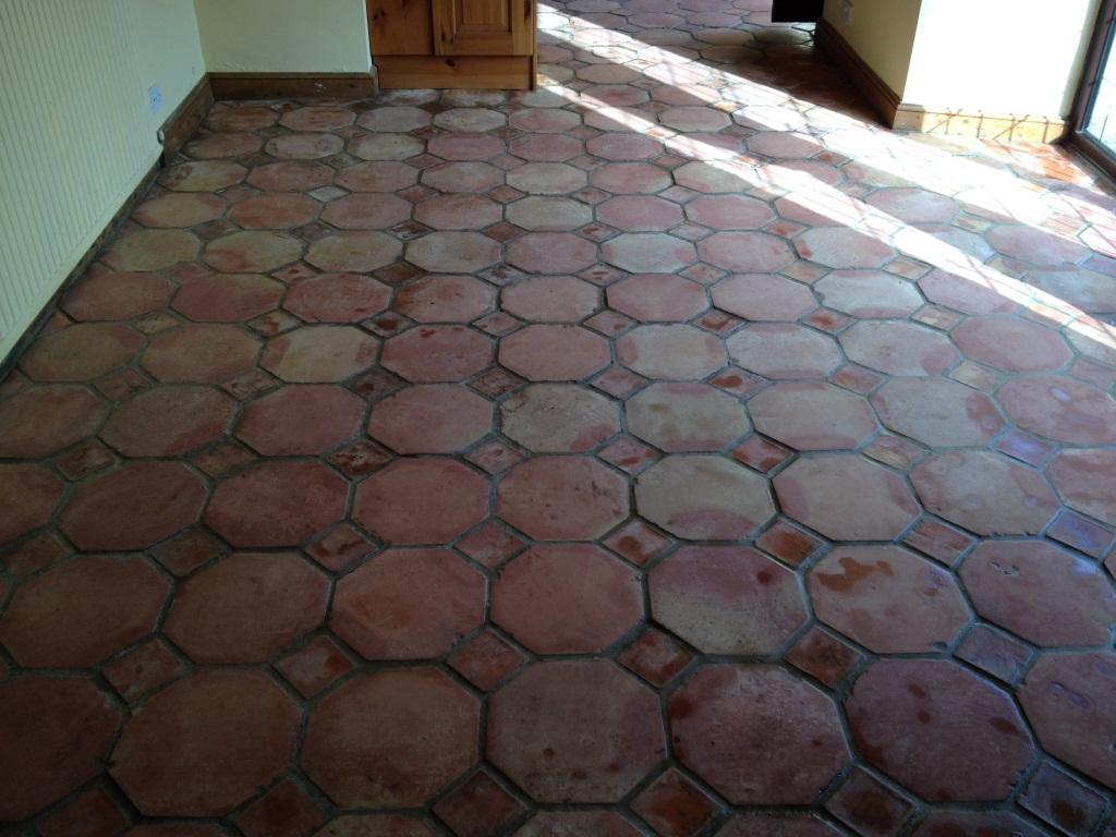 Terracotta Tiled Floor in Great Bourton After Stripping