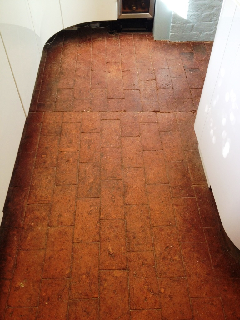Brick Paved Floor Before Regrouting and Cleaning Peppard