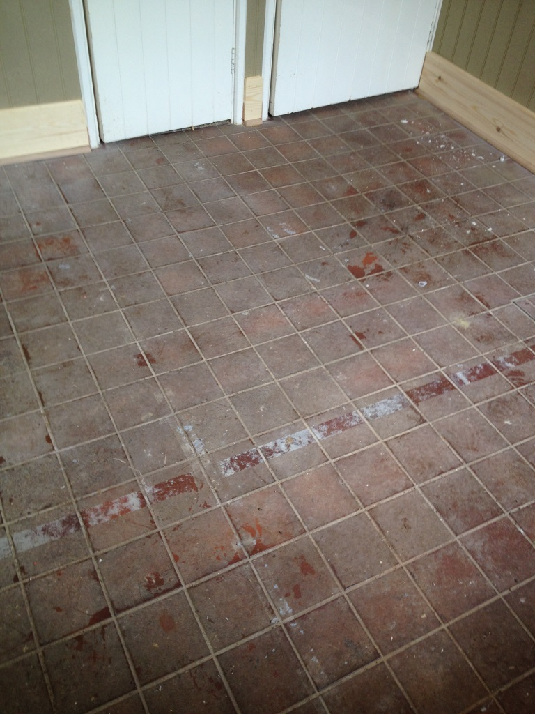 Quarry Tiles Before Cleaning in Watlington