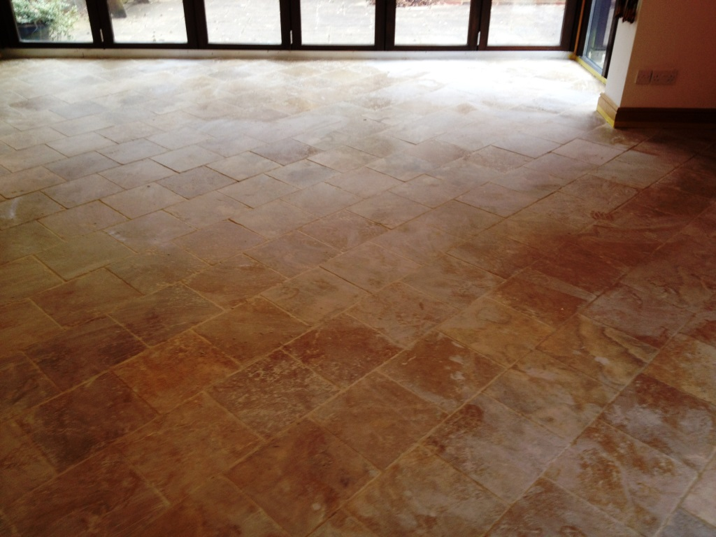 Travertine Tiled Floor Before Cleaning Henleyon Thames