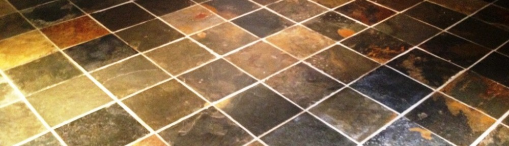 Cleaning Multi-Coloured Slate Tiled in a Barnard Gate Kitchen