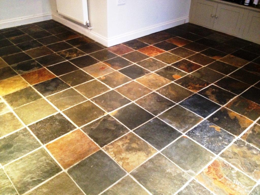 Coloured Slate Tiled Floor Barnard Gate After Cleaning
