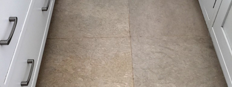 Very Dirty Limestone Tiled Kitchen Floor Cleaned in Henley on Thames