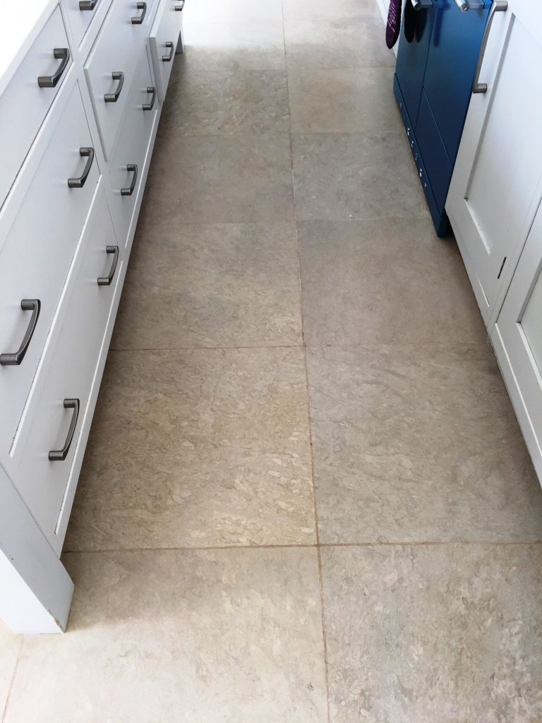 Limestone Kitchen Floor Henley on Thames After Cleaning