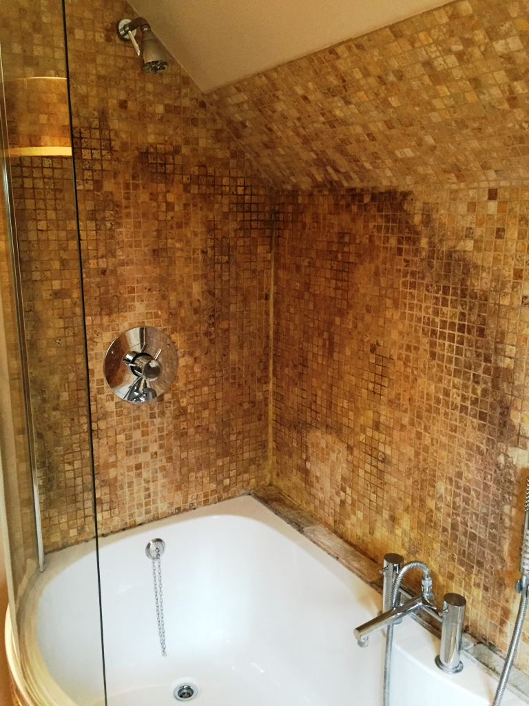 Tumbled marble mosaic bathroom Kidlington before