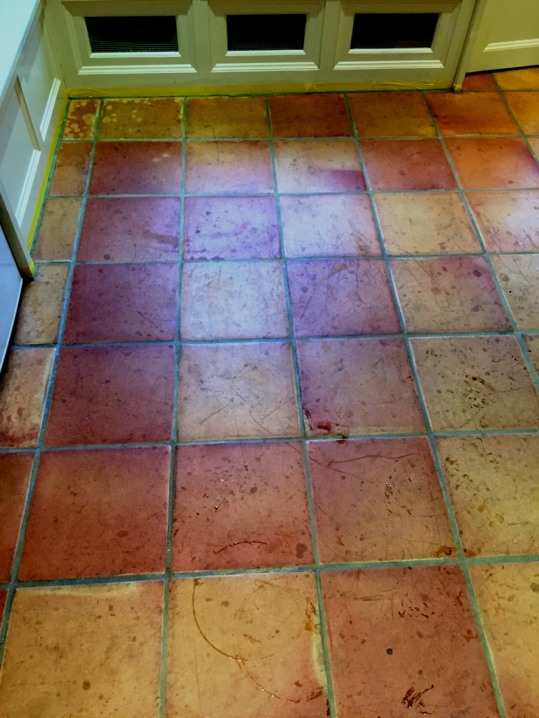 Terracotta Tiled Floor Before Cleaning Oxford