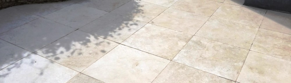 Limestone Patio Tiles Deep Cleaned in Haddenham Near Thame