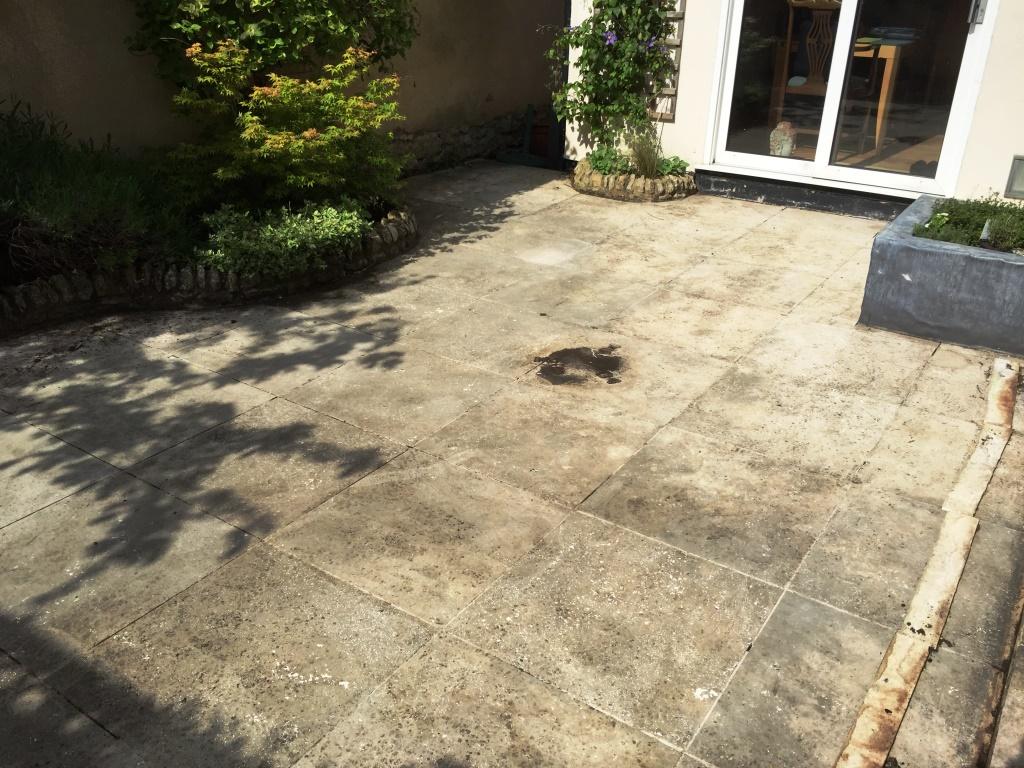 Limestone Patio Before Cleaning Haddenham