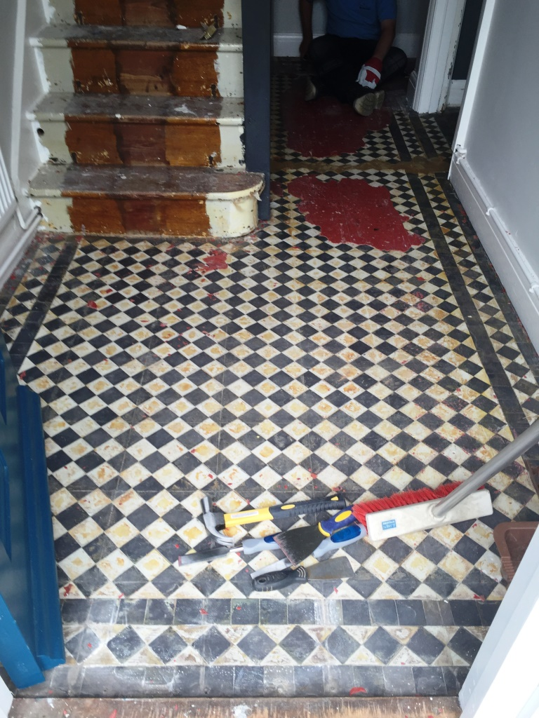 Full restoration of a victorian tiled floor in oxford victorian floor restoration oxford lino removed doublecrazyfo Gallery