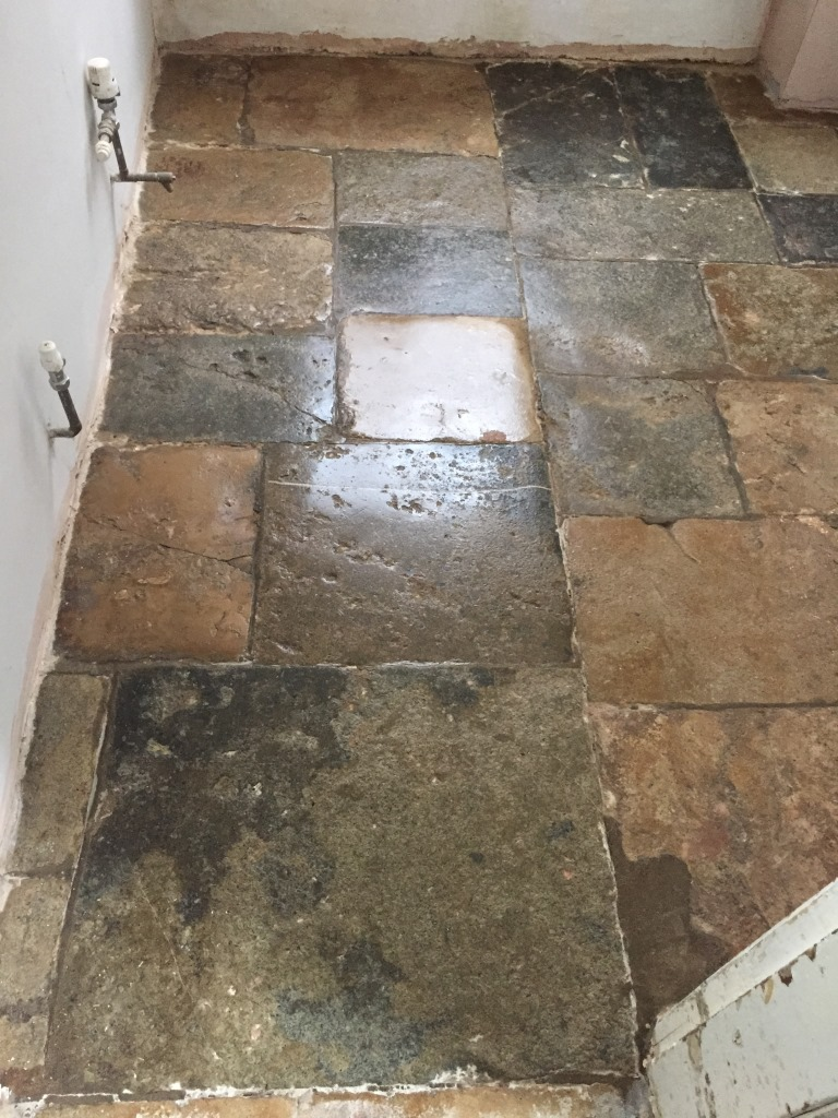 Old Flagstone floor Bicester After Burnishing