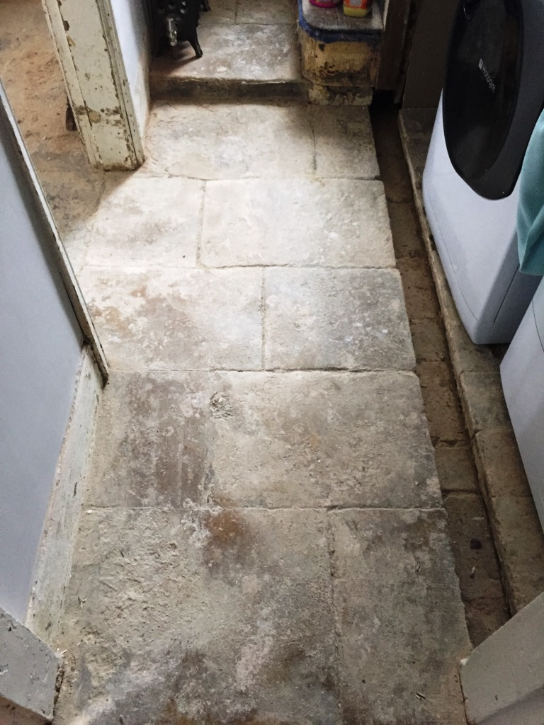 Cleaning and restoring the appearance of an old flagstone floor old flagstone floor bicester before cleaning dailygadgetfo Choice Image