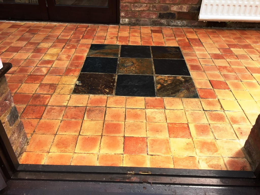 Grubby Terracotta and Slate Conservatory Floor Bicester After Cleaning