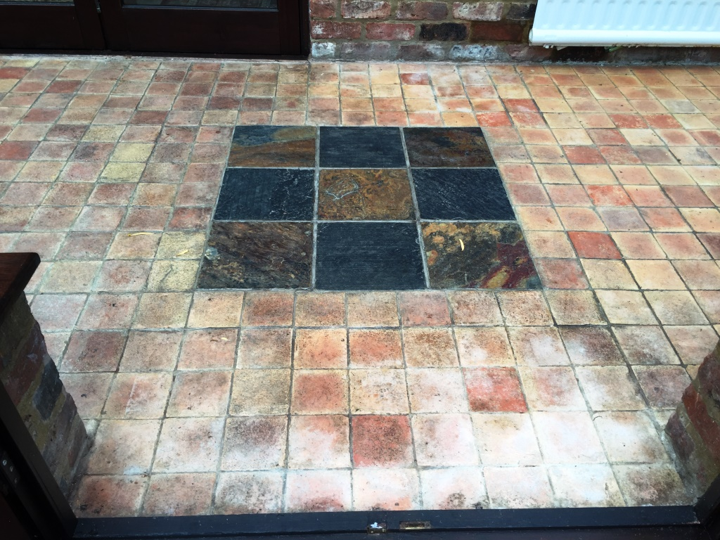 Terracotta stone cleaning and polishing tips for terracotta floors grubby terracotta and slate conservatory floor bicester before cleaning dailygadgetfo Gallery