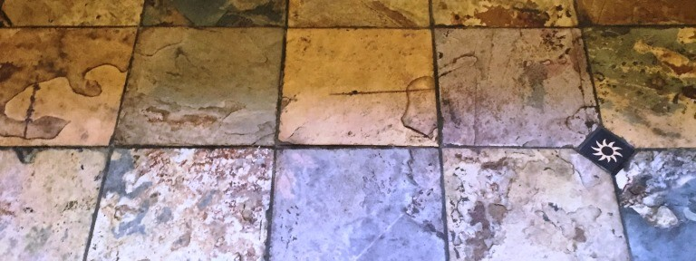 Beautiful Coloured Slate Tiled Floor Cleaned and Sealed in a Woodstock Kitchen
