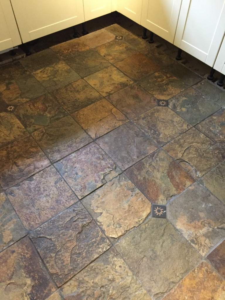 Slate Floors In Kitchen Beautiful Coloured Slate Tiled Floor Cleaned And Sealed In A