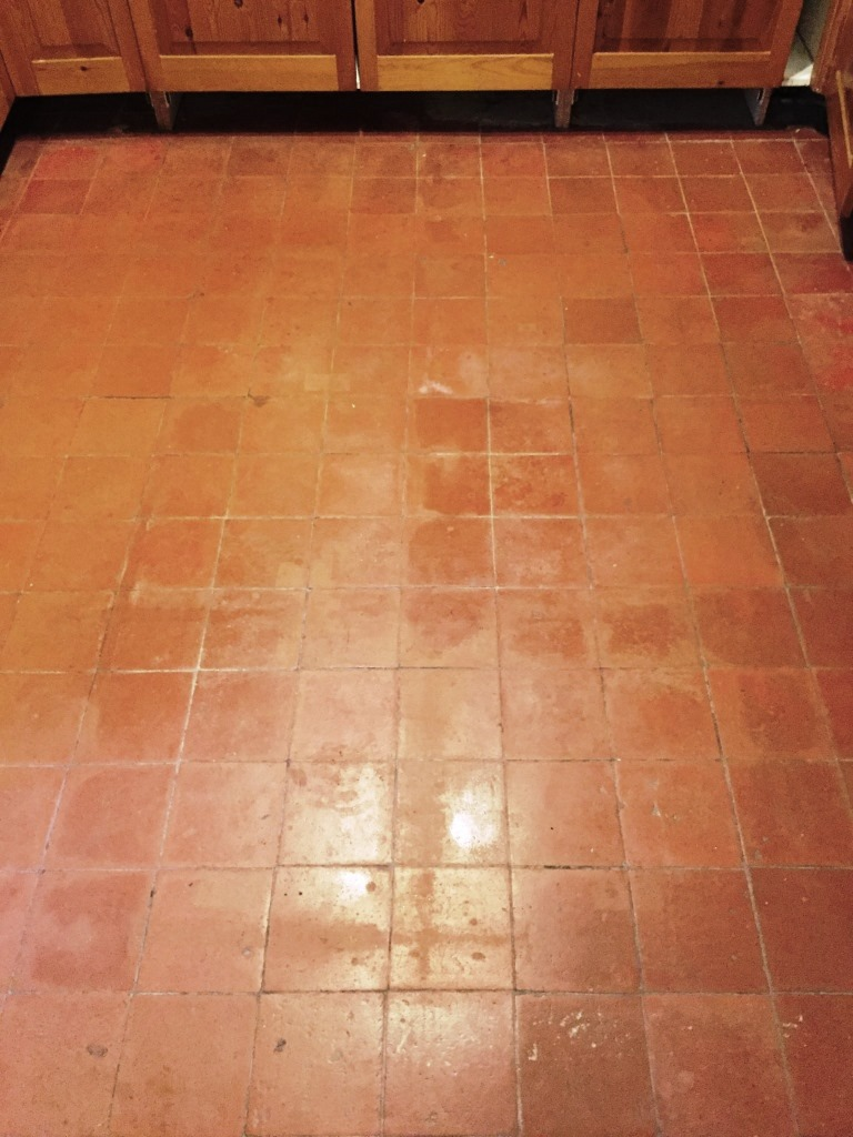Quarry Tiled Kitchen floor Before Cleaning Milton
