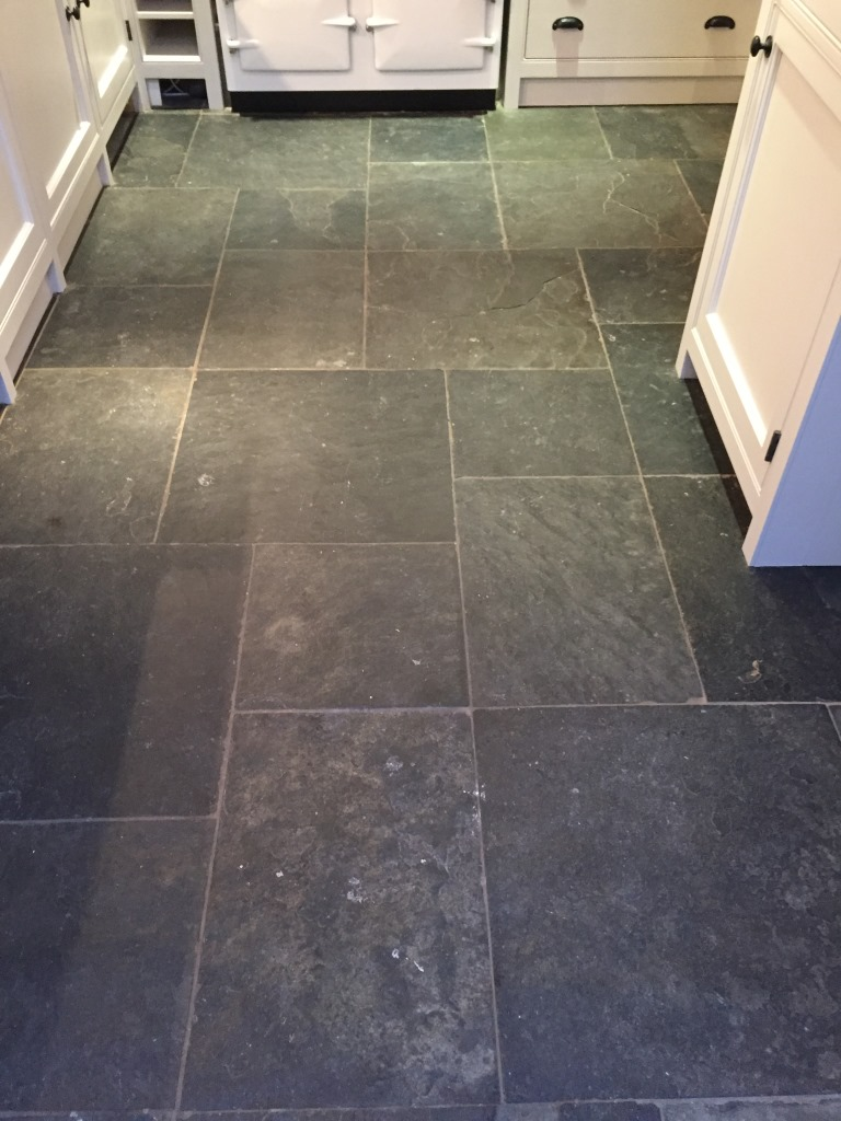 Slate Tiled Floor Before Cleaning Henley-on-Thames