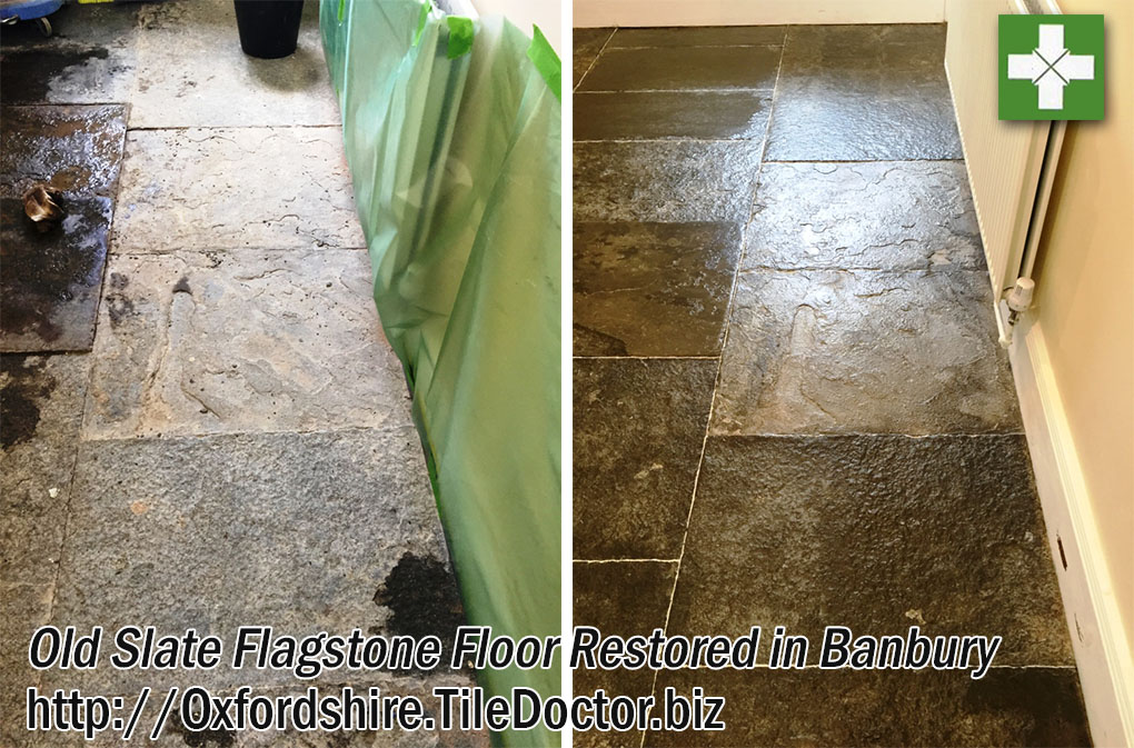 Old Slate Flagstone Floor Restored in Banbury