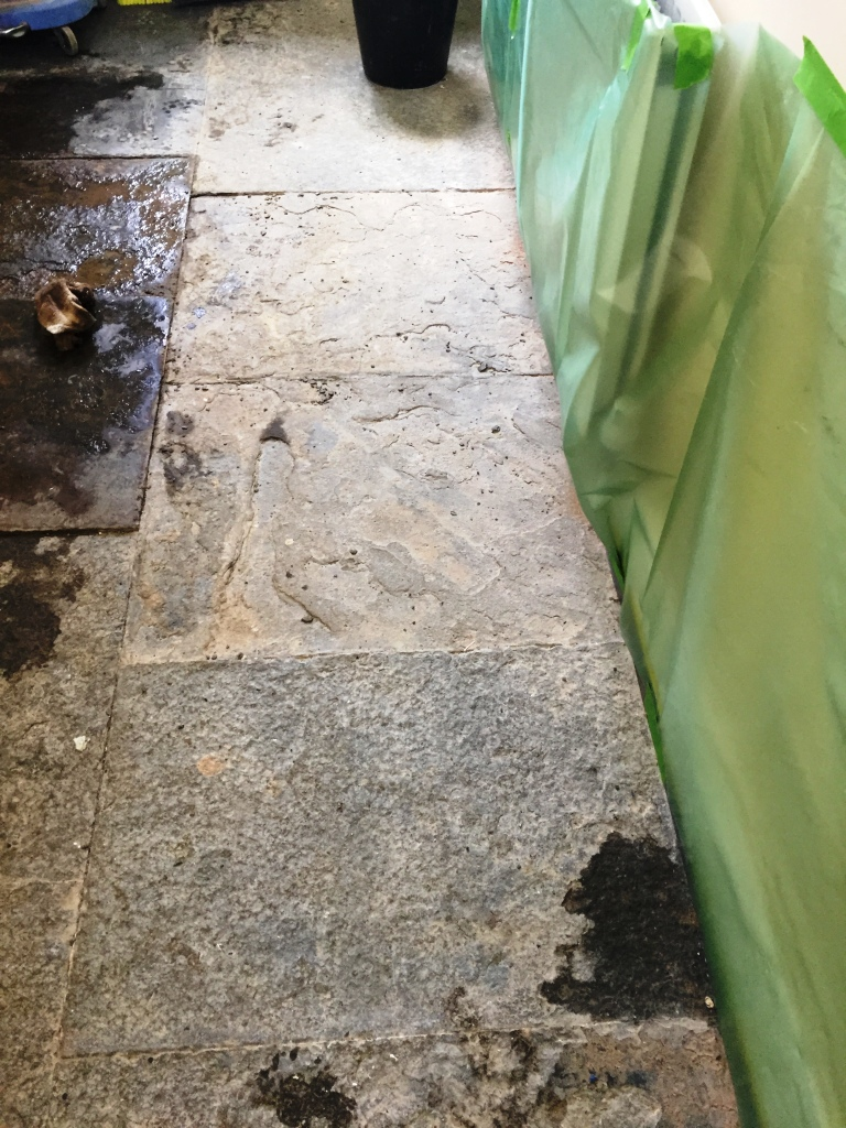 Old Slate Flagstone floor before cleaning Banbury