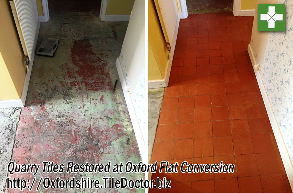 Quarry Tiled Hallway Tiles Before and After Restoration Oxford