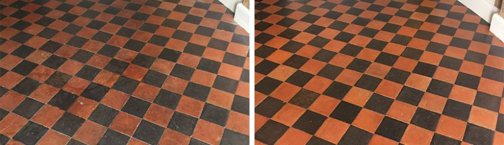 Dirty Black and Red Quarry Tiles Rejuvenated in Thame