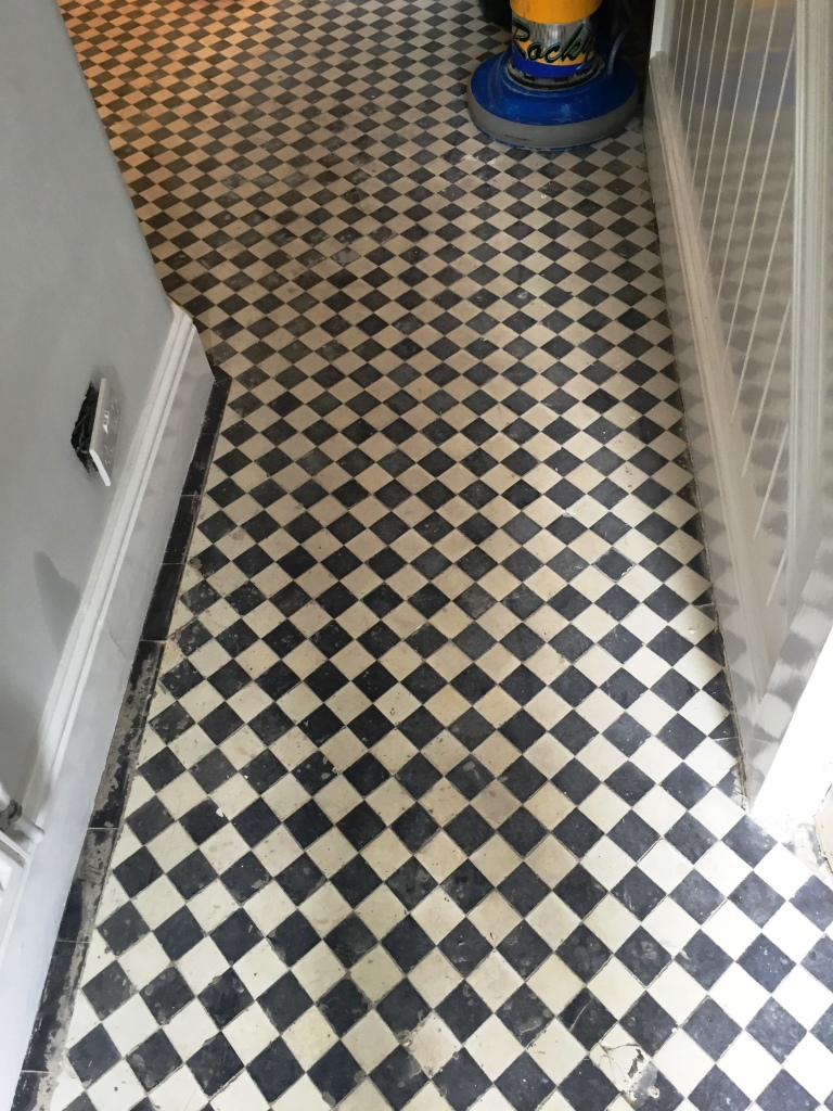 Victorian Tiled Floor Before Cleaning Oxford