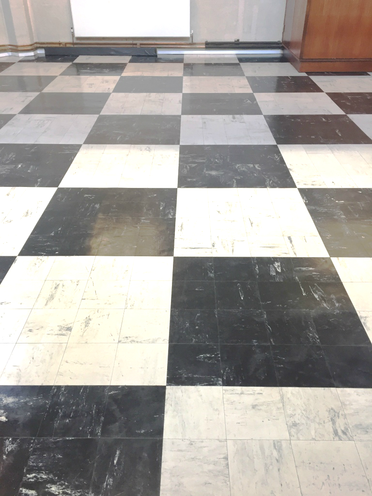 Chequered Vinyl Lino floor After Cleaning Sealing in Oxford