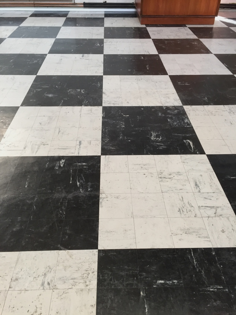 Chequered Vinyl Lino floor Before Cleaning Sealing in Oxford