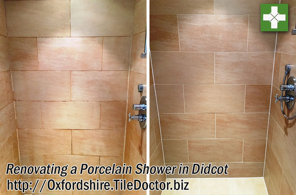 Porcelain Shower Tile Before and After Renovation in Didcot