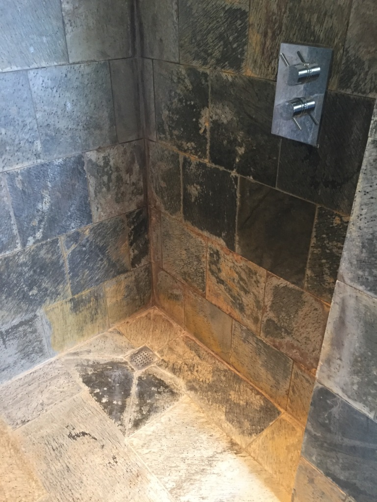 Slate Tiled Shower in Wantage Before Cleaning