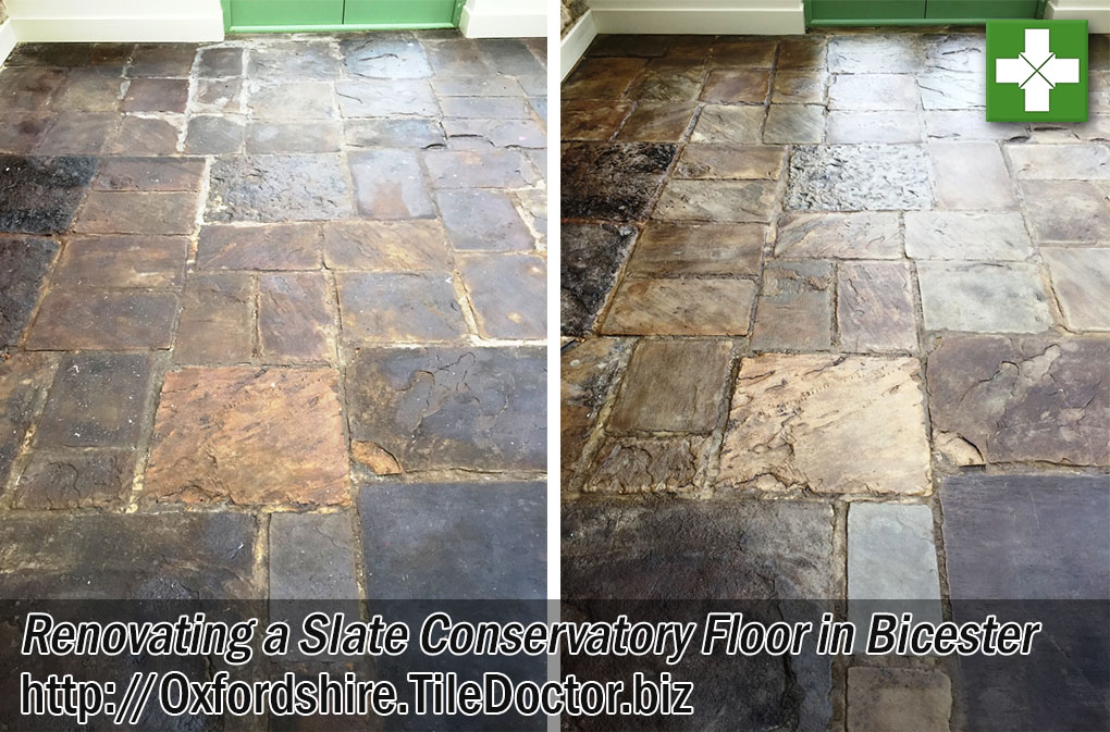 Slate Conservatory Floor Before and After Renovation in Bicester
