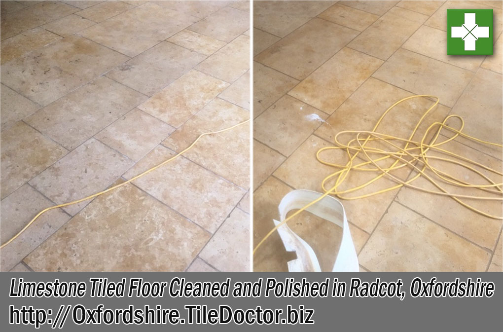 Limestone Tiled Floor Before and After Polishing Radcot Oxfordshire
