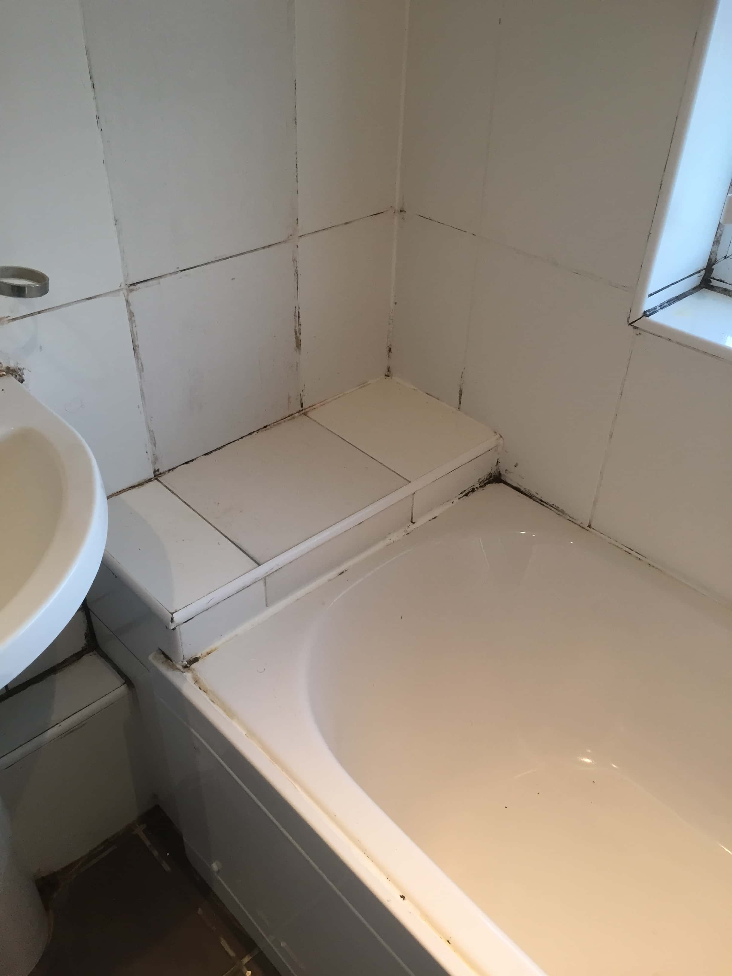 Bathroom Before Grout Clean and Silicone Replaced Oxford