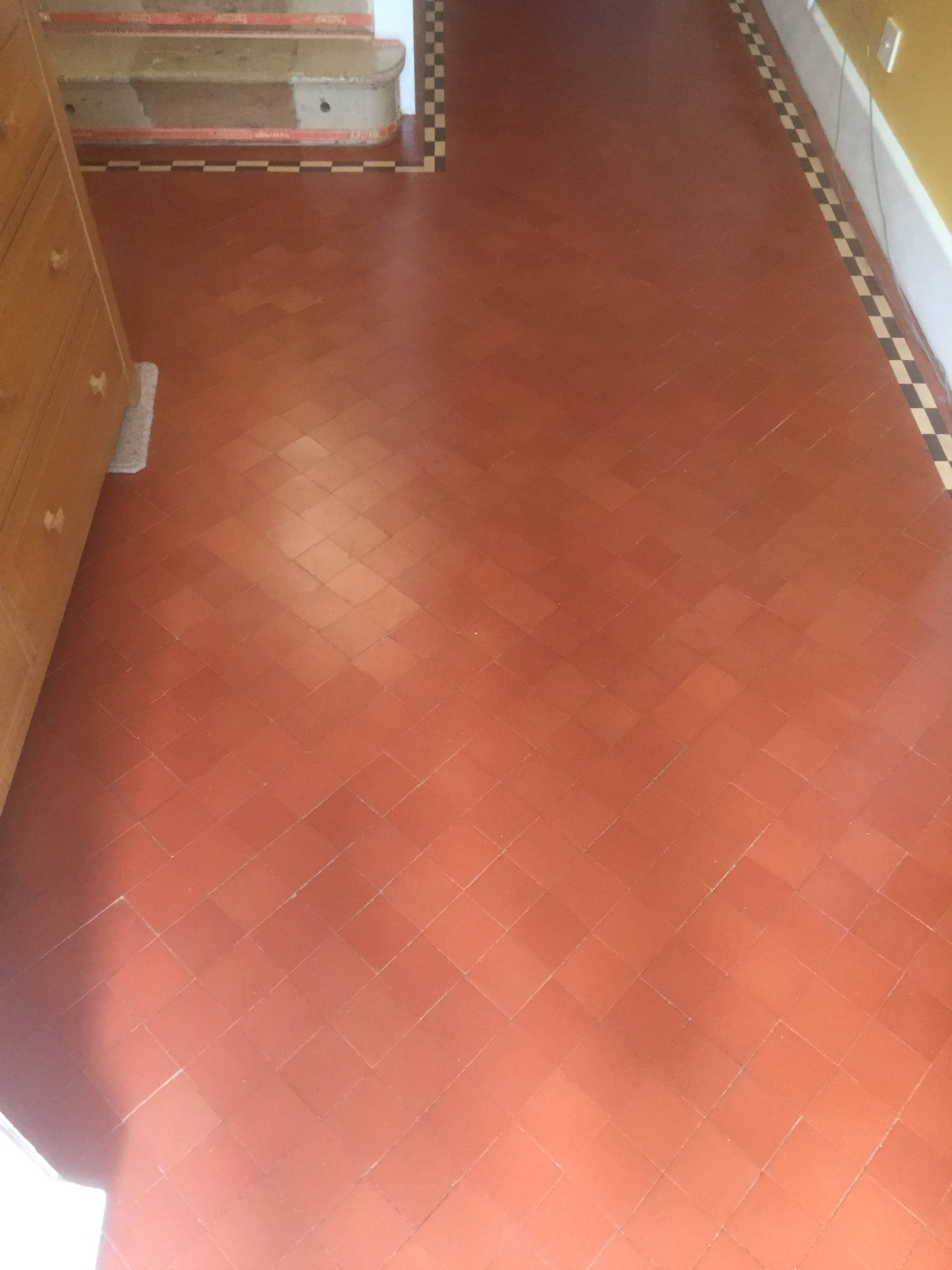 Quarry tiled Hallway floor after renovation in Didcot