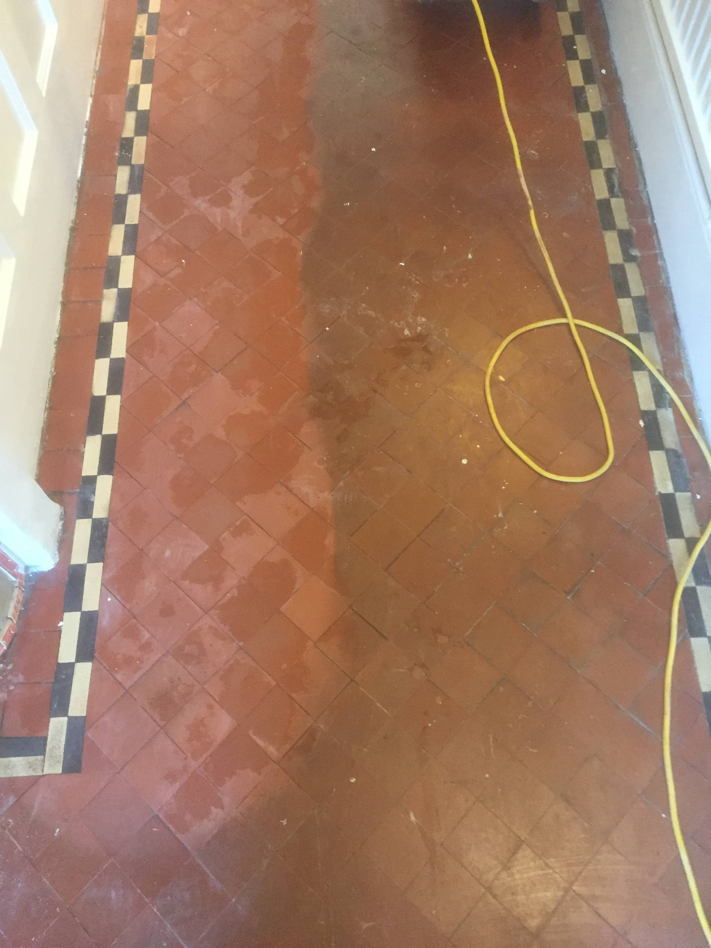 Quarry tiled Hallway floor during renovation in Didcot