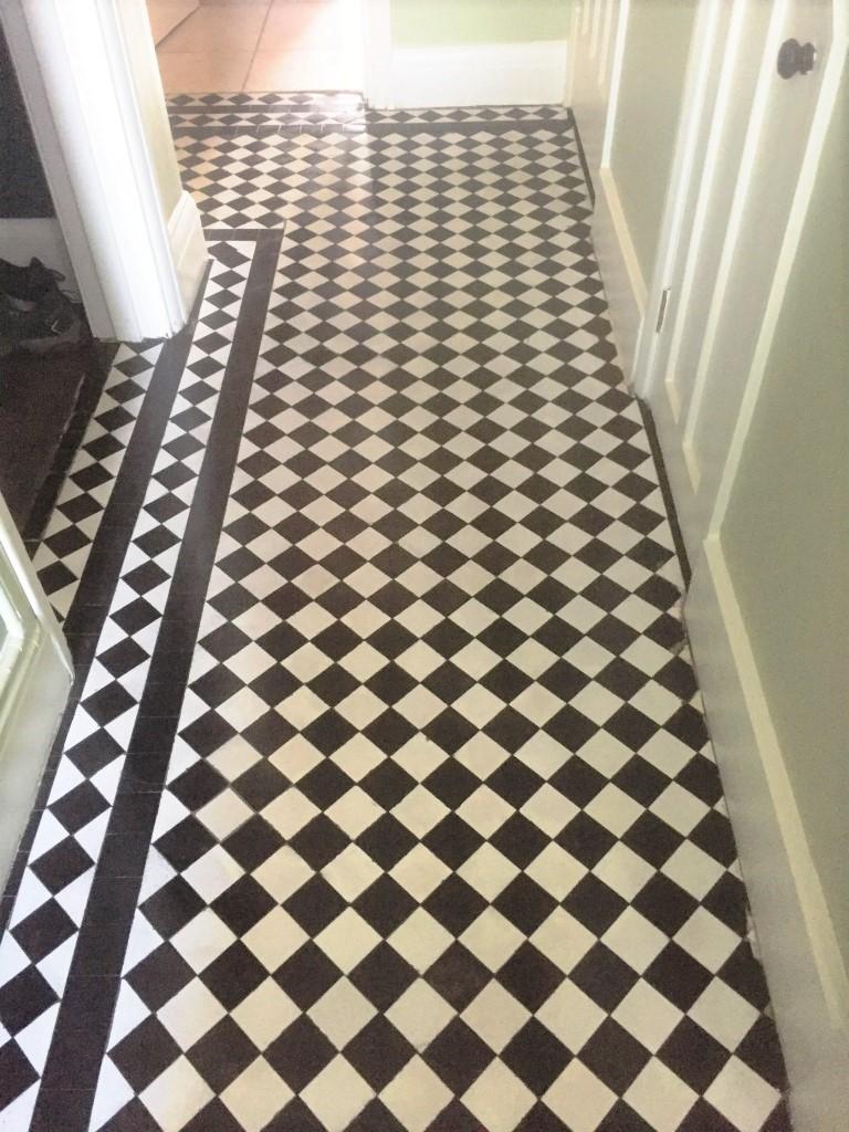 Chequered Victorian Hallway Floor Tile Before Restoration Oxford