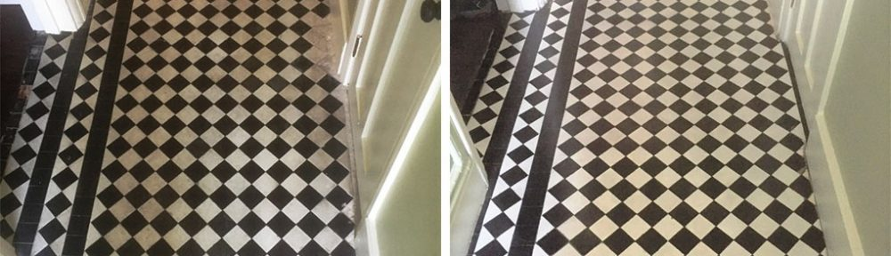 Chequered Victorian Hallway Floor Restored in Oxford