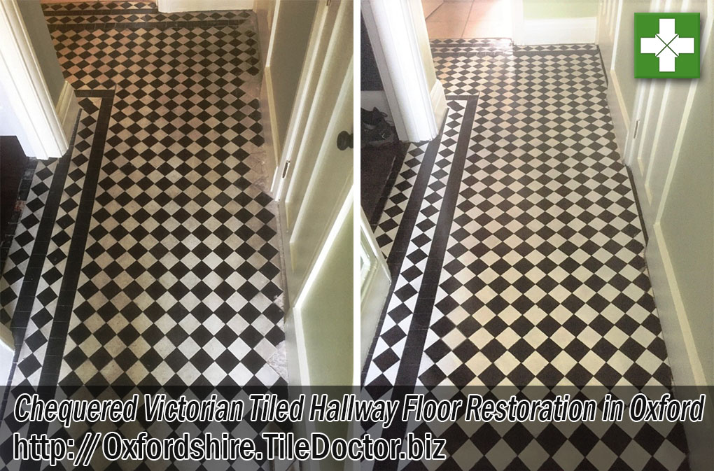 Chequered Victorian Tiled Hallway Floor Before After Renovation Oxford