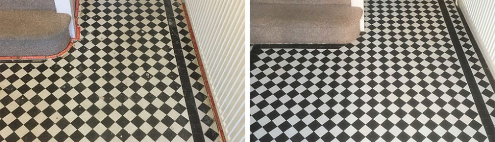 Black White Chequered Victorian Tiles Before After Restoration Oxford