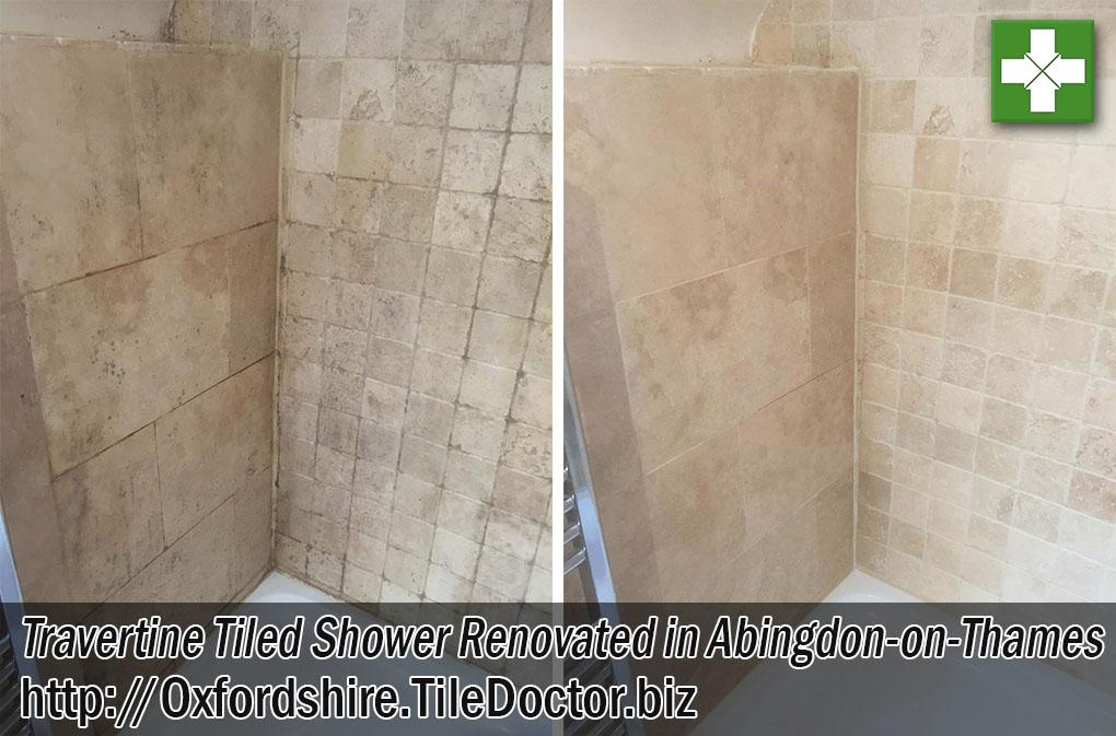 Travertine Tiled Shower Before After Renovation Abingdon